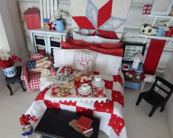 Miniature Americana Breakfast Tray/Board-Miniature Dollhouse