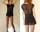 Black Minimalist Sweater Vintage 80s Black See Through Netted Draped Urban Minimalist Boho Sweater (s m)