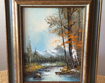 Landscape Oil Painting- Mountains By the River
