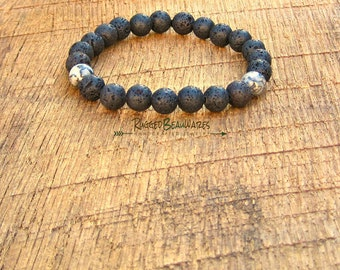 Mens Black Lava Rock and Scenery Jasper Bracelet simple rugged rustic understated rocker style stretch stacking stackable stack guys grey