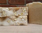 SALE! Oatmeal Milk & Honey Organic Artisan Soap - Goat Milk Fragrance Free Raw Honey Gluten Free Oats