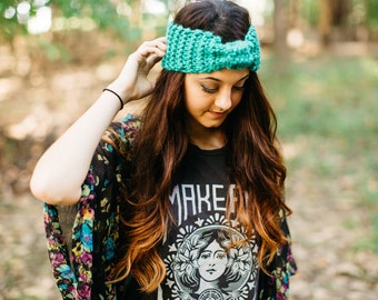 Ready to ship! Jade-Teal Green Knit Earwarmer