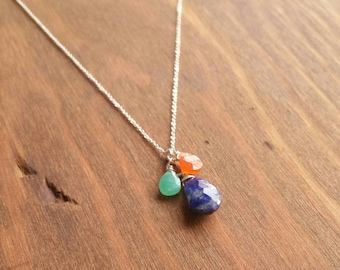 Lapis Lazuli, Chrysoprase, & Carnelian Gemstone Charm Necklace, Long Sterling Silver Skinny Chain. Blue, Green, Orange Briolette Jewelry