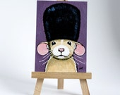 Original ACEO Dumbo Rat wearing a Bearskin Hat | London Guard Fancy Rat | Cute Whimsical Art Illustration