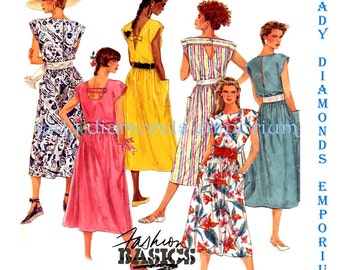McCalls 3075 Womens Plus Size Pullover Dress w Back Detailing, 5 Looks, size 16 Bust 38 Vintage 80's Sewing Pattern Uncut