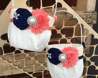 2 Flower girl baskets / navy coral   Flower girl basket / YOU DESIGN / Flower girl basket