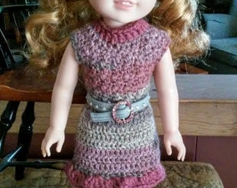 Crocheted Wrap Dress w/Belt for Wellie Wishers