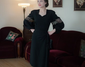 Vintage 1940s Dress - Incredible Backless Black Rayon Femme Fatale 40s Dress with Billowing Balloon Sleeves, Strong Shoulders and Hip Drape