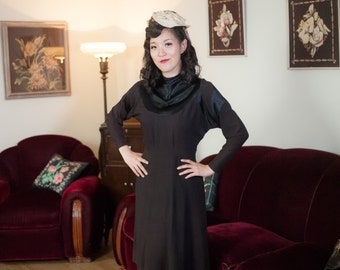 Vintage 1930s Dress - High Impact Black Silk Crepe with Contrasting Glossy Charmeuse Satin Deco 30s Dress
