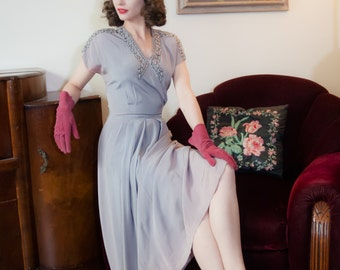 Vintage 1940s Dress - Alluring Pale Lavender Rayon 40s Gown with Sparkling Beaded Neckline