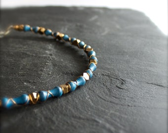 SALE - Necklace, Ocean Blue Patina, Caged Bead Strand, Gold Brass, Wire Wrapped, Geometric Hexagon, Rustic Boho, Mens Womens Unisex Jewelry