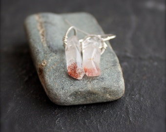 Lepidocrocite Gemstone Stick Dangle Earrings - Red Iron Quartz Drop, Sterling Silver Hoop, Boho Jewelry