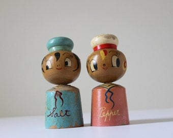 Vintage Sailor Salt & Pepper Shakers, Nautical Home Decor, 1960's Kitchen, Beach House Gift, Wooden Salt and Peppers