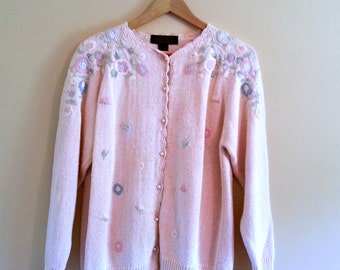 Vintage Girly Pink Cardigan with Flowers - Size M/L