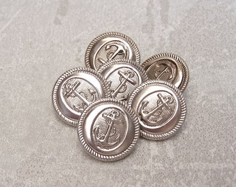 Etched Anchor Buttons 19mm - 3/4 inch Ship Anchor with Rope Silver Tone Metal Buttons - 6 VTG NOS Oval Designer Nautical Anchor Buttons MT71