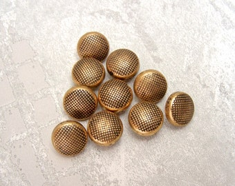 Vintage Gold Buttons 13mm - 1/2 inch Pebbled Retro Mod Antiqued Gold Buttons - 10 VTG NOS Metallic Gold Plastic Shank Buttons PL328