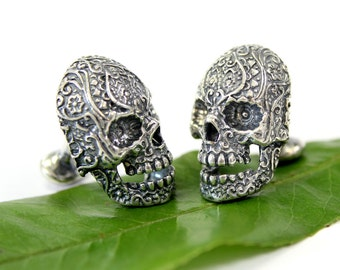 Sugar Skull Cufflinks Silver Sugar Skull Cuff Links Day of the Dead 145