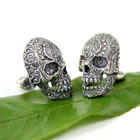 Sugar Skull Cufflinks Silver Sugar Skull Cuff Links Day of the Dead 145