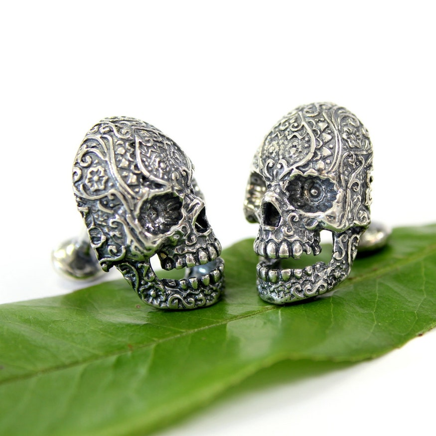 Silver Sugar Skull Cuff Links