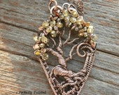 Wire Weaved Wrapped Tree of Life Pendant Necklace, Dragon Scales & Crystals, Copper Handmade Wire Wrapped Jewelry Perfectly Twisted Jewelry