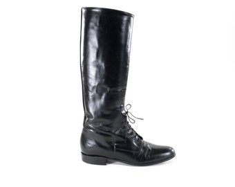 Leather Riding Boots Tall Equestrian Horseback Riding Motorcycle Knee High Black Lace Up Boots Size 8