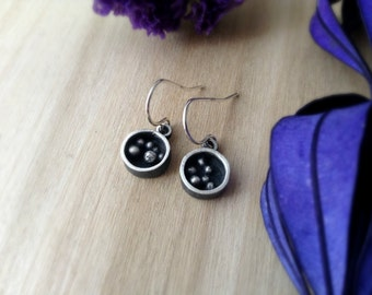 round pebble box  earrings made in sterling silver, modern box dangle earrings, ready to ship