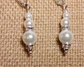 Pearl and Rhinestone Earrings, Wedding Earrings, Bridal Earrings, Silver Plated