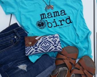 Mama Bird Turquoise V-neck Shirt