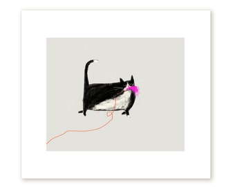Domestic Predator- Cat Print - The Toy - Funny Cat Art - Cat Mom or Cat Dad
