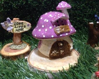 Fairy Garden Toadstool Ceramic MUSHROOM House Statue med  Toadstool  Gnomes  pottery ready to ship fuchsia purple