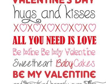Valentine's Day Subway Art Printable Instant Download