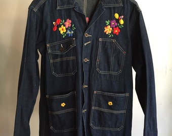 Vintage 70s embroidered denim chore jacket