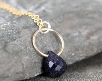 Sapphire Necklace - Blue Sapphire Pendant - Faceted Briolette - Modern Jewellery - 14K Gold Filled - September Birthstone - Blue Gemstone