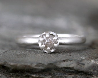 Raw Diamond Engagement Ring - Sterling Silver Six Claw Setting - 1/2 carat Rough Uncut Diamond Gemstone - Matte Texture - Promise Ring