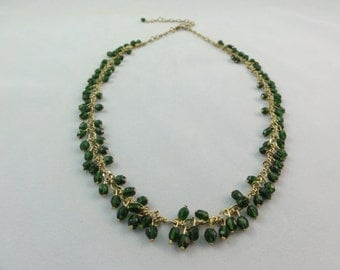 """Green & Gold Beaded Necklace- Green Dangle Beads Gold Chain Necklace, Faceted Glass Beads, 17- 21.5"""" Long, Handmade Jewelry"""