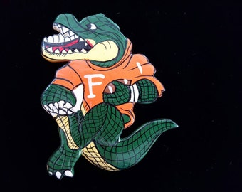 Florida Gators Brooch, Gators Football Brooch, Alligator & Football Pin, Vintage Brooch, Hand Painted Brooch, University of Florida Jewelry