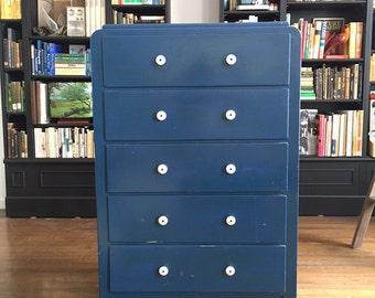 Vintage 1950s Shabby Chic Dresser Parisian Blue Mid Century Modern