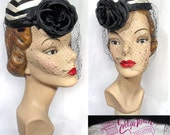Vintage 1950s Black & White Chevron Satin Pillbox Cocktail Hat with Black Rose