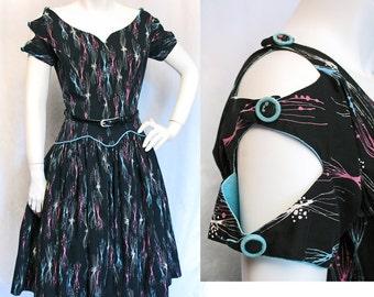 1950s Vintage Black, Pink & Turquoise Atomic Print Dress SZ S