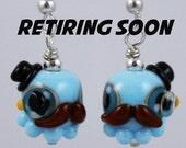 Blue Gentleman Octopus Lampwork Glass Earrings