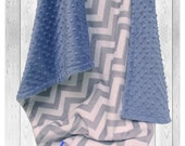 Denim Blue and Gray Chevron Minky Baby Blanket for Boy