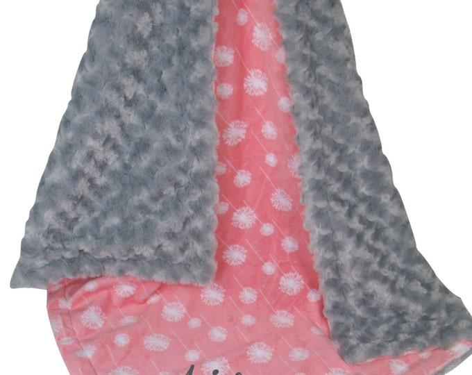 Coral Dandelion and Gray Minky Dot Baby Blanket, Salmon Coral Dandelion Minky Blanket, Coral Rose Swirl Minky Blanket