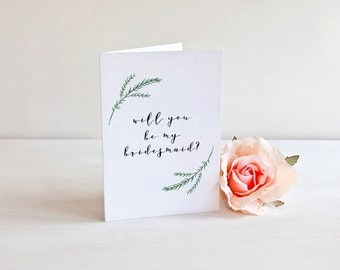 Will You Be My Bridesmaid Card - Bridesmaid Invitation - Wedding Party Greeting Card - Wedding Stationery - Bridesmaid Proposal - Watercolor