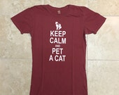 SALE, Half Price, XL, pigment red, Cat shirt, Keep Calm, Pet a Cat, womens Alternative Apparel tshirt