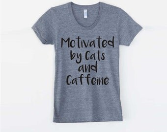 Funny tees, Cat shirt, women's graphic tee, Brunch, Cats and Caffeine, American Apparel, coffee, summer, girlfriend gift, cat lover gift
