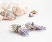 Dangle earrings/Summer earrings/Beach jewelry/ Ocean jewelry/ Polymer clay jewelry/ Pearls earrings/ Jellyfish earrings/ Seashell earrings