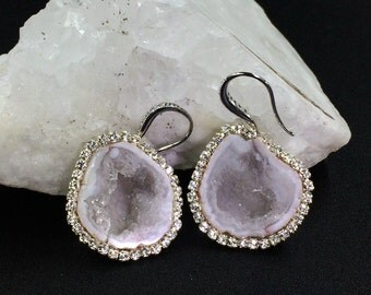 Tabasco Geode Druzy Earrings Ivory Slice Dangle Earrings Ivory Off White Pave Diamond Look Beach Wedding Jewelry Celebrity Style - Christina