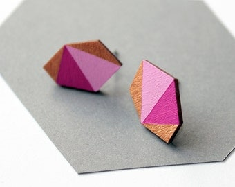 Geometric diamond geo shape stud earrings - magenta, rose, gold - minimalist, modern hand painted wooden jewelry