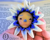 Bachelor Button Polymer Clay Ornament Sculpture