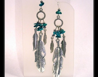 Boho Turquoise Nugget & Silver Feather Earrings